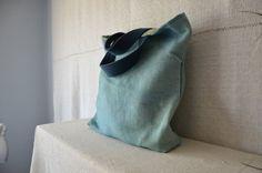 Bohemian bag dark blue handles light blue tote by EthicalLifeStore