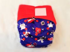 OS Bamboo Double Gusset Pocket Diaper in Velcro - Robots