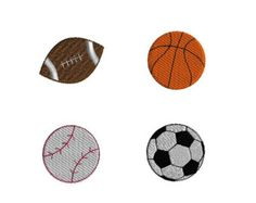 Mini Sports Balls-football, basketball, baseball, soccer ball- Machine Embroidery Design Set-INSTANT DOWNLOAD