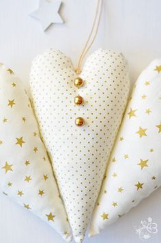 gold and white hearts ~ easy to make