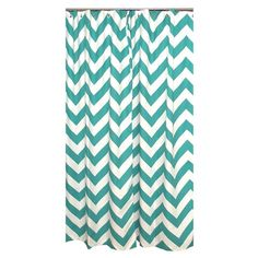 Zig Zag Shower Curtain in Turquoise.