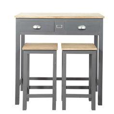 Tavolo alto per sala da pranzo + 2 sgabelli in legno L 90 cm