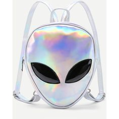 Iridescent Alien Shaped PU Backpack (€23) ❤ liked on Polyvore featuring bags, backpacks, alien, backpack, accessories, rucksack bag, iridescent bag, day pack backpack, knapsack bag and backpack bags