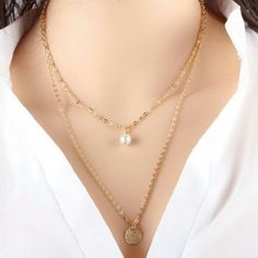 2 layer pearl and circle necklace * 5 aviliable * 2 gold layer pearl and circle necklace Jewelry Necklaces