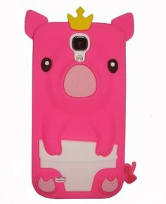 Pink Cute Piggy 3D Crown Pig Silicone Case Cover Skin for Samsung Galaxy S4 i9500