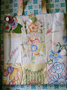 Vintage Embroidery Tote by Beth's Bagz, via Flickr - something to do w/ grandma's embroidered tea towels or pillow cases....neat!