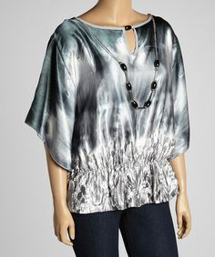 Loving this Green Shaded Necklace Cape-Sleeve Top - Plus on #zulily! #zulilyfinds