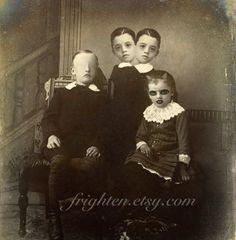 Halloween Decor Mixed Media Collage Print Creepy Girl by frighten