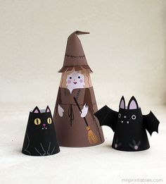 Printable Paper Dolls | Halloween Cone Girls - Mr Printables