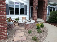 yard design ideas - Front Patio! I love the idea of a low wall ...