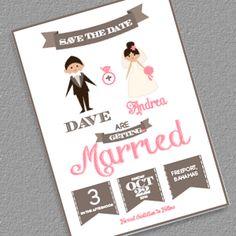 18 best weddings images on pinterest bridal invitations save the date cartoon couple wedding invitation templates stopboris Image collections