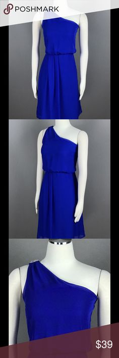 Adrianna Papell Royal Blue Dress Chiffon NEW Adrianna Papell Royal Blue Cocktail Dress Sz 12 Chiffon One Shoulder Beaded $99 NEW Adrianna Papell Dresses Midi