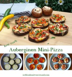 low carb eggplant mini pizzas - Eggplants are delicious, healthy, low carb and you can do such great things with them ; Budget Freezer Meals, Cooking On A Budget, Frugal Meals, Mini Pizzas, Mini Pizza Recipes, Raw Food Recipes, Low Carb Pizza, Low Carb Lunch, Aubergine Pizza