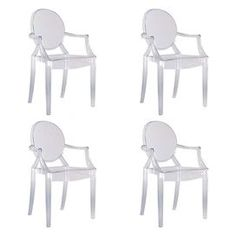 "Louis-inspired indoor/outdoor ghost chair.Product:   Chair Construction Material:  Transparent polycarbonate Color:   Clear  Features:    Shock, scratch and weather resistant  Stackable up to six chairs high  Can be used indoors or outdoors  Suitable for residential and commercial use  Made in Italy     Designed by Philippe Starck, 2002  18.66"" Seat height  Dimensions:   37.2"" H X 21.4"" W X 21.8"" D"