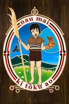 Nau Mai Ki Toku Ao (Welcome to my World) by Shane Hansen, screenprint, 70x100cm, edition of 30