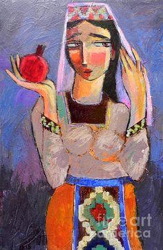 The Color Of Pomegranates armenian girl in national costumes taraz with armenian simbolic fruit pomegranate acrylic palette knife painting