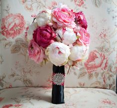 Cherry Blossom and Peony Wedding Bouquet Black and by KateSaidYes, $145.00