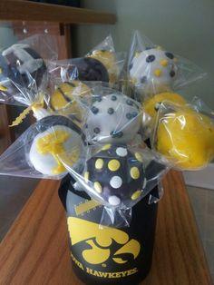 Iowa hawkeye cake pops. Www.facebook.com/HJcakedecorating