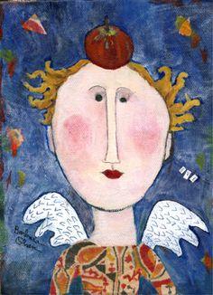 "Barbara Olsen, ""Eve"", Mixed Media on Canvas, 9x8 - Anne Irwin Fine Art"