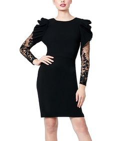 Featuring eye-catchingly dramatic shoulder ruffles and delicate lace sleeves, this black sheath dress is certainly a show-stopper. Size long from high point of shoulder to polyester / spandexDry cleanImported Sheath Dress, Bodycon Dress, Holiday Party Dresses, Black Ruffle, Lace Sleeves, Dress Backs, To My Daughter, Daughters, Formal Wear
