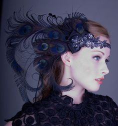 Licorice+Nymph+Peacock+Feather+Flapper+Headband+por+BaroqueAndRoll,+$138.00
