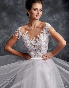 ira koval 2017 bridal short sleeves floral v neck heavily embellished bodice tulle skirt pretty romantic a line wedding dress keyhole back long train (607) zv mv -- Ira Koval 2017 Wedding Dresses