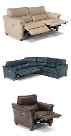 Ta modułowa sofa jest wyposażona w port USB do podłączania urządzeń i wygodne podparcie pleców w skórzanej skórze, w ponad 100 kolorach. Dzięki technologii Triple-Motion Cubicomfort ™, każde siedzenie na sofie Astuzia ma trzy niezależne, sterowane elektrycznie mechanizmy ruchu, pozwalające osobie na każdym siedzeniu dostosować położenie poduszki siedziska, oparcia, podnóżka i zagłówka. #furniture #interiordesign #sofa #natuzzi #home #meble #kanapy #armchair #sofas #cornersofa Recliner, Sofas, Lounge, Couch, Chair, Furniture, Home Decor, Couches, Airport Lounge
