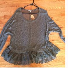 American Eagle lightweight  top Olive green long sleeved, lightweight sweater top w lace. NEW WITH TAGS American Eagle Outfitters Tops