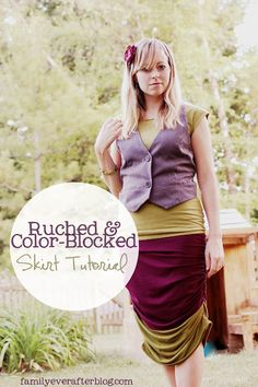 mama says sew: Ruched Color-Blocked Skirt with Family Ever After