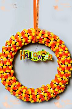 Halloween crafts I love candy corn idk if i could waste it like this! but supper cute!
