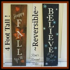 Reversible Holiday Sign Reversible Fall Winter Rustic Sign