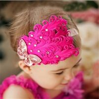 Cute Baby Kids Girl Feather Headband Flower Bowknot Lace Hair Band Headress Headwear Accessories
