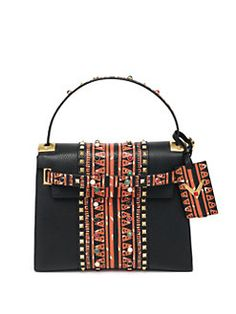 Valentino - Rockstud Abstract-Print Leather Satchel