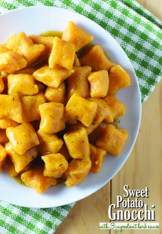 Sweet Potato Gnocchi with 3-Ingredient Herb Sauce - Feasting on Fruit (this sauce IS vegan)