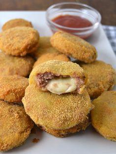 Aros de cebolla rellenos de carne picada y queso   Cuuking! Recetas de cocina