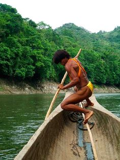 Embera, Chagres National Park, Panama (I was in a boat just like this, with a man just like him!)