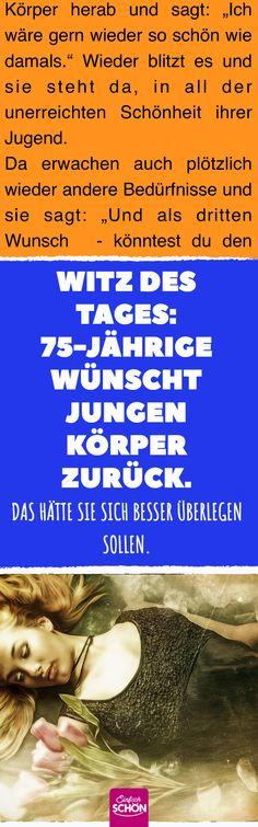 Witz des Tages: 75-Jährige wünscht jungen Körper zurück. #witz #gag #scherz #lachen #humor #dornröschen #prinz #prinzessin #märchen