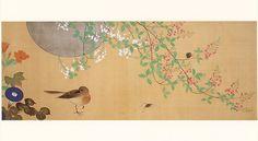 酒井抱一 四季花鳥図巻. Birds and Flowers of the Four Seasons (detail) by Sakai Hoitsu. Japanese scroll.