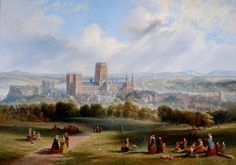 Durham from Observatory Hill by John Wilson Carmichael 1847 at Durham University British Marine, Dunstanburgh Castle, Durham England, Durham University, Durham City, St Johns College, Durham Cathedral, Art Uk, Most Beautiful Cities