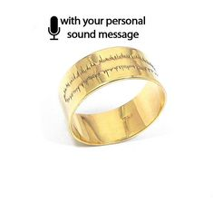 Sterling silver soundwave ring gold plated, waveform ring, sound wave ring, heartbeat sonogram ultrasound ring - Ship by DHL EXPRESS