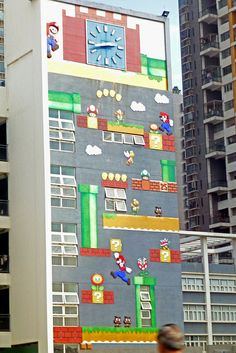 Super Mario Mural on a school Shenzhen China by dcmaster, via Flickr