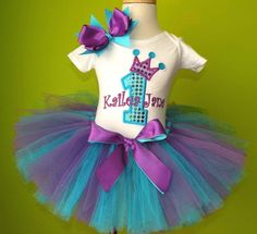 #MC Turquoise Purple Princess Birthday Tutu Outfit by PoshBabyStore.com