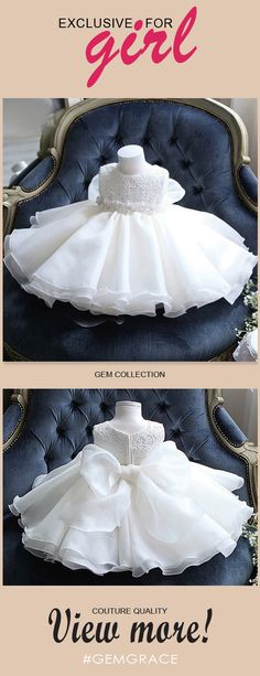 Only $64.99, Flower Girl Dresses Cute Tutu Lace Flower Girl Dress White With Big Bow In Back #TG7011 at #GemGrace. View more special Flower Girl Dresses now? GemGrace is a solution for those who want to buy delicate gowns with affordable prices, a solution for those who have unique ideas about their gowns. Shop now!