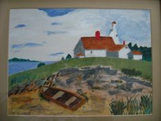 Lighthouse on the Cape- Painted by my Dad. Russell Elvidge