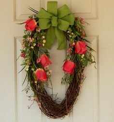 Grapevine Wreath, Tulips, Burlap Bow, Flowers, Easter, Mother's Day   PataylaFloralDesigns - Housewares on ArtFire