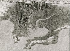 Ben Sack's drawings posit his viewers above sprawling megalopolises. As we gaze down, thousands of buildings appear to go on for miles: Sack painstakingly renders each detail with pen and ink… Cityscape Drawing, Painting & Drawing, Perspective, World Globes, Map Design, City Art, Geometric Art, Architecture, Modern Art