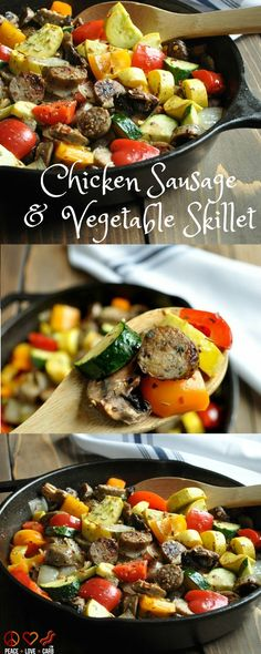Chicken Sausage and Vegetable Skillet - Low Carb, Paleo | Peace Love and Low Carb  via @PeaceLoveLoCarb