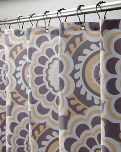 Laura Ashley Tatton Gray and Yellow Floral Fabric Shower Curtain