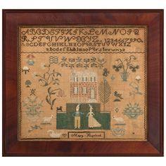 1stdibs.com   Pictorial Philadelphia Sampler, circa 1830