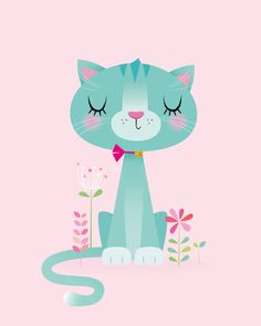 Cat nursery print – Girl nursery art, pink and teal decor Imprimir infantiles gato chica vivero por IreneGoughPrints en Etsy [br] Baby Prints, Nursery Prints, Nursery Art, Girl Nursery, Nursery Decor, Girl Room, Room Decor, Baby Girl Wallpaper, Cat Wallpaper